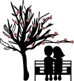 Couple under the cherry tree Stock Photo