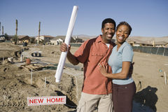 Couple At An Under Construction Plot Stock Photo