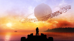 Couple Under Fantasy Sky Stock Images