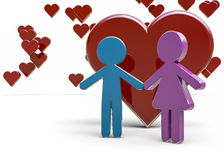Couple under hearts Stock Photos
