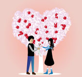 Couple under love tree. Happy boy and girl under a love tree stock illustration