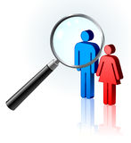 Couple under magnifying glass Royalty Free Stock Photo