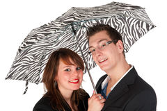 Couple under the umbrella Stock Photography