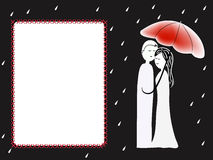 Couple under umbrella greeting card Stock Photos