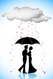 Couple under Umbrella in Love Rain Stock Photos