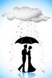 Couple under Umbrella in Love Rain Stock Photos