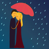 Couple under umbrella Royalty Free Stock Images
