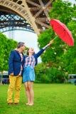 Couple under the umbrella in Paris Royalty Free Stock Photo