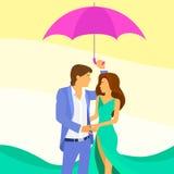 Couple Under Umbrella Romantic Love Royalty Free Stock Photos