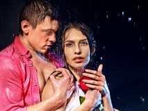 Couple under water drop. royalty free stock photo