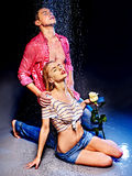 Couple  under  water drop. Stock Images