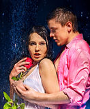 Couple  under  water drop Royalty Free Stock Photo