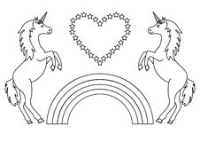 Couple unicorns with rainbow and heart with stars. Coloring page for children. Vector stock illustration