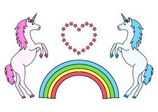 Couple unicorns with rainbow and heart. Vector illustration vector illustration