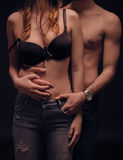 Couple upper body sexy touching body nude shirtless bra Royalty Free Stock Image