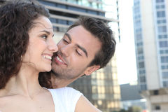 Couple in urban landscape Royalty Free Stock Image