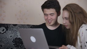 Couple using computer at home. Family, technology concept. stock video