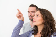 Couple using imaginary touchscreen interface Stock Image