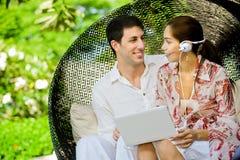 Couple Using Laptop Royalty Free Stock Photos