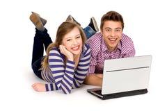 Couple using laptop Royalty Free Stock Photo