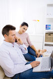 Couple Using Laptop Computer Royalty Free Stock Photography