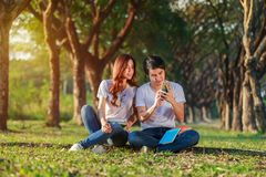Couple using mobile phone in park. Couple using mobile phone in the park Royalty Free Stock Images