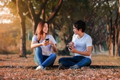 Couple using mobile phone and talking in park. Couple using mobile phone and talking in the park Royalty Free Stock Photo