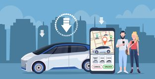 Couple using smartphone screen city map online ordering taxi car sharing concept customers downloading mobile. Application transportation carsharing service app royalty free illustration