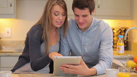 Couple using video chat on tablet pc Stock Image