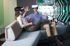 Couple using virtual reality headset Stock Images
