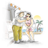 Couple on vacation. A chubby couple are having an ice cream on holiday resort by the beach Royalty Free Stock Images