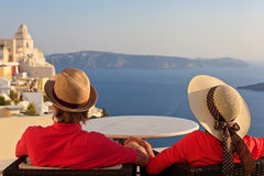 Couple on vacation in Santorini Stock Images