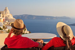 Couple on vacation in Santorini Stock Photography