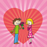 Couple on valentine day. Illustration of couple on valentine day, male with gift and present Royalty Free Stock Images