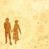 Couple, valentine design. Illustration with couple silhouettes on a Valentine background stock illustration