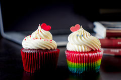Couple Valentine heart shaped cupcake Royalty Free Stock Photography