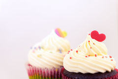 Couple Valentine heart shaped cupcake Royalty Free Stock Images