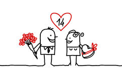 Couple & Valentine's. Vector hand-drawn characters on line royalty free illustration