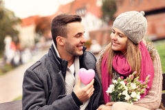 Couple on Valentine's Day in the park Royalty Free Stock Photos