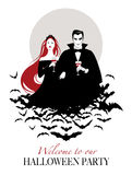 Couple of vampires on a cloud of bats holding red wine glasses.  Royalty Free Stock Image