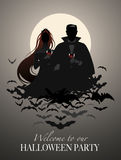 Couple of vampires on a cloud of bats holding red wine glasses. Vector Illustration Stock Photography