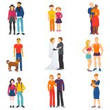 Couple vector happy man and woman in love or young people together in relationship illustration set of coupled. Characters girl and boy embracing on date Stock Photography