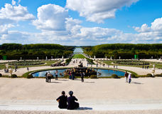 Couple at Versailles Castle gardens in France Royalty Free Stock Photo
