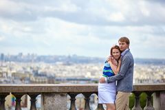 Couple at viewpoint on Montmartre in Paris Royalty Free Stock Photo