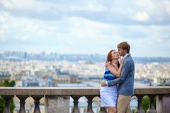 Couple at viewpoint on Montmartre in Paris Stock Photos