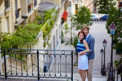 Couple at viewpoint on Montmartre in Paris Stock Photography