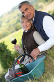 Couple in a vineyard Stock Images