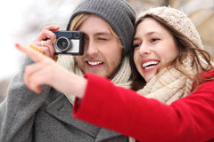 Couple with vintage camera Stock Photo