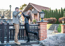 Couple in vintage park Royalty Free Stock Images