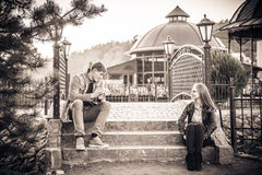 Couple in vintage park Royalty Free Stock Image